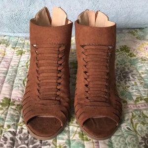 Brown open toe booties